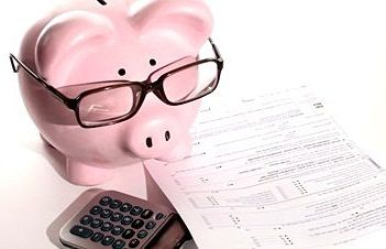 Financial literacy pig doing taxes